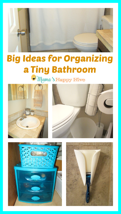 A list of smart ideas for organizing a tiny bathroom. - www.mamashappyhive.com