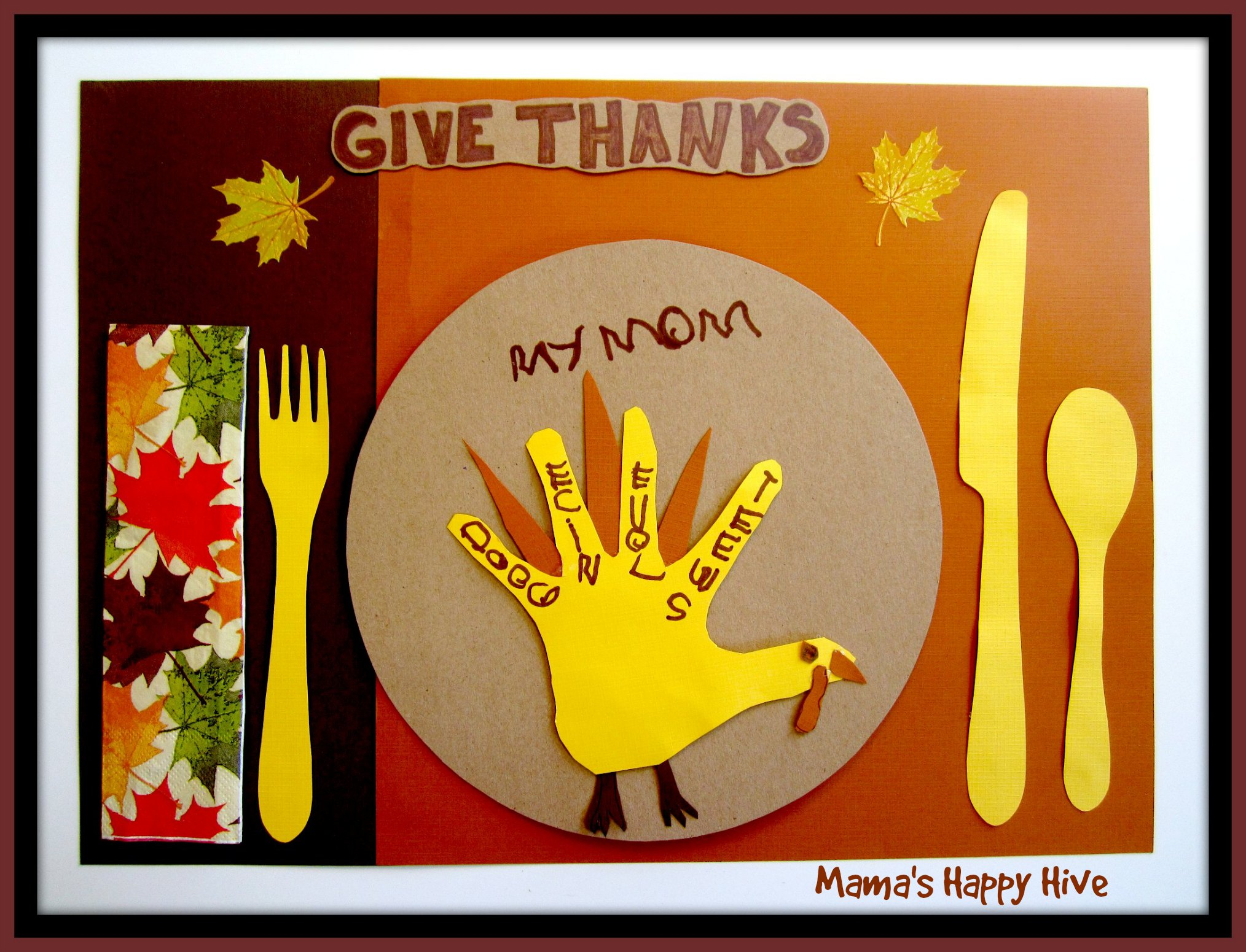5 Crafting Gratitude Turkey Placemats
