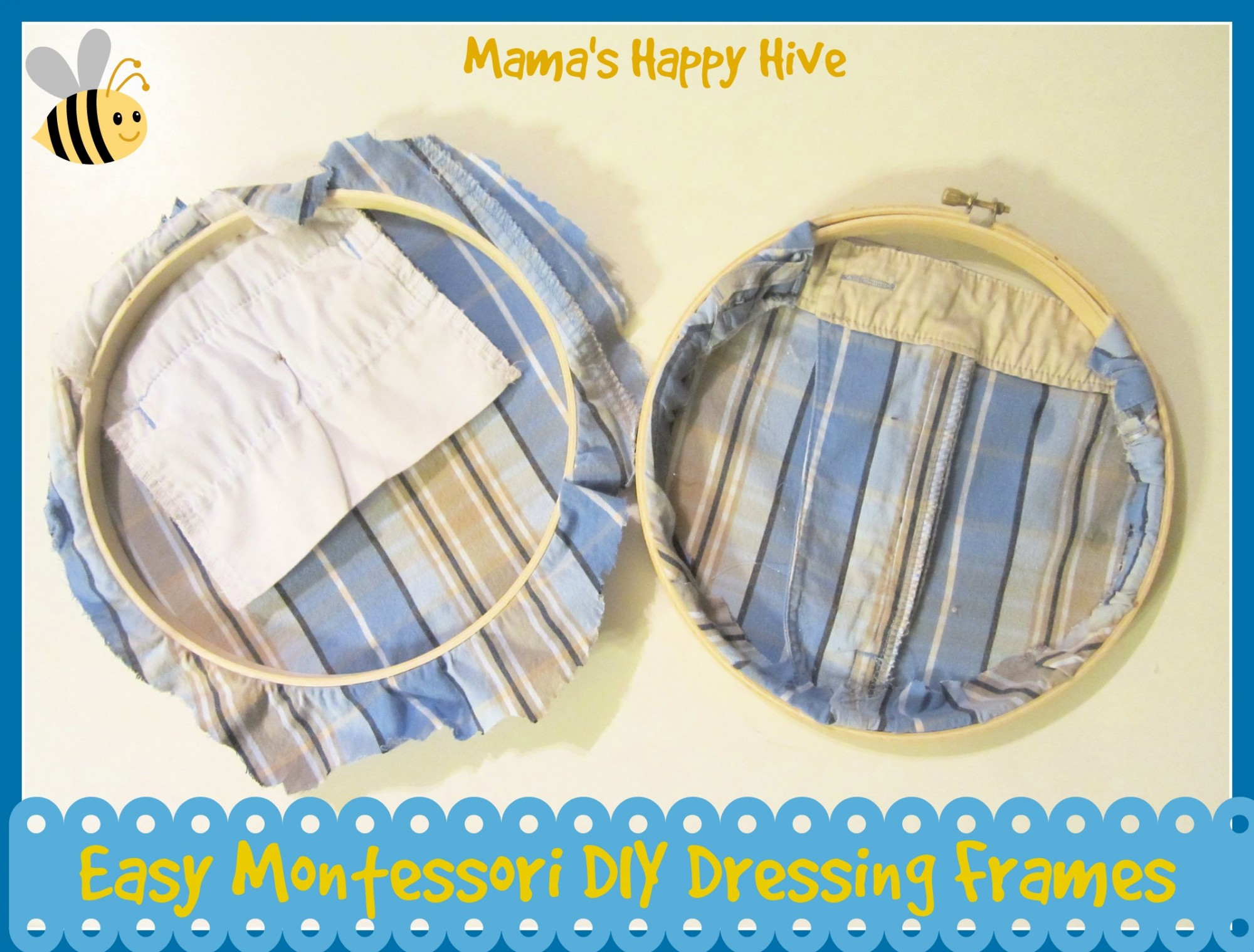 Easy DIY Montessori Dressing Frames - www.mamashappyhive.com