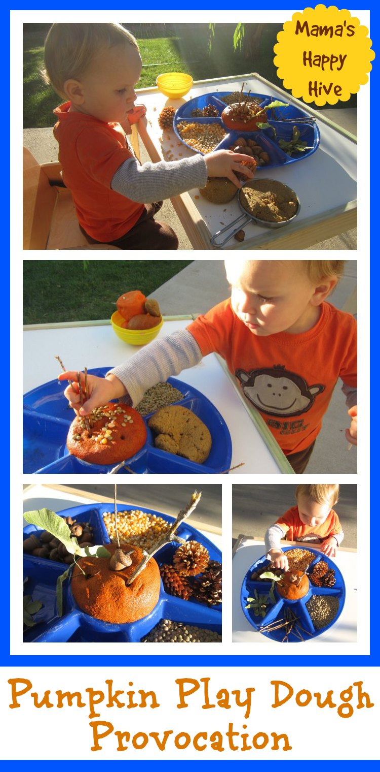Pumpkin Play Dough Provocation - www.mamashappyhive.com