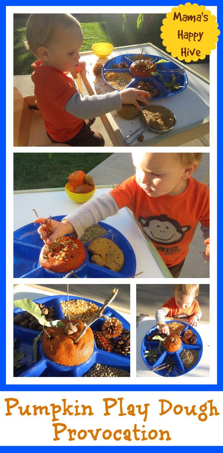 Pumpkin Play Dough Provocation - www.mamashappyhive.com