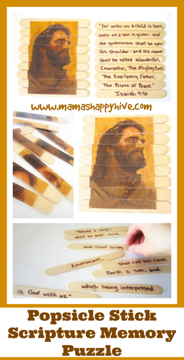 A popsicle stick scripture memory puzzle for a quiet activity and also a fun challenge for an older child for learning Bible verses (a double sided puzzle.) - www.mamashappyhive.com