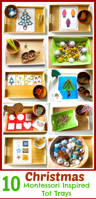These Christmas Montessori inspired tot trays include easy to put together activities and tons of free printables. Also, included are simple tot ornaments. - www.mamashappyhive.com