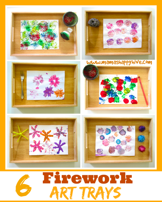 6 awesome firework art trays for kids to enjoy for New Years and 4th of July! - www.mamashappyhive.com