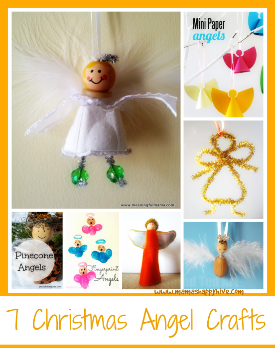 7 sweet Christmas angel crafts for you to enjoy. These angel crafts bring me great joy and get me in the cheery mood for Christmas. - www.mamashappyhive.com