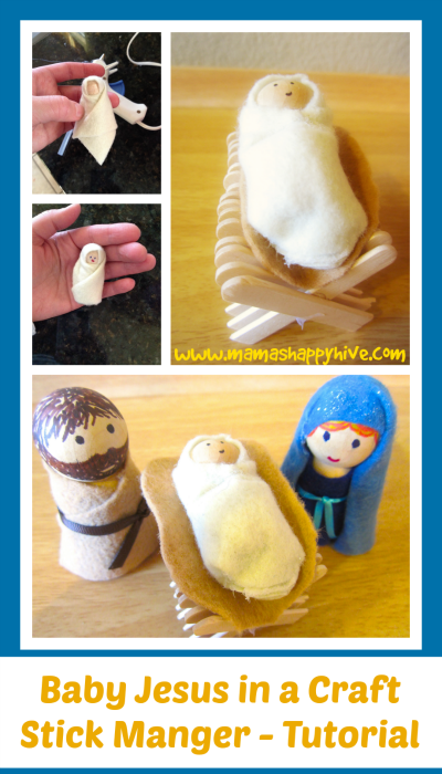 Baby Jesus in a Craft Stick Manger – Tutorial