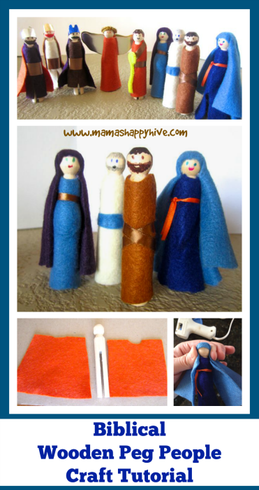 Biblical Wooden Peg People Craft Tutorial - www.mamashappyhive.com