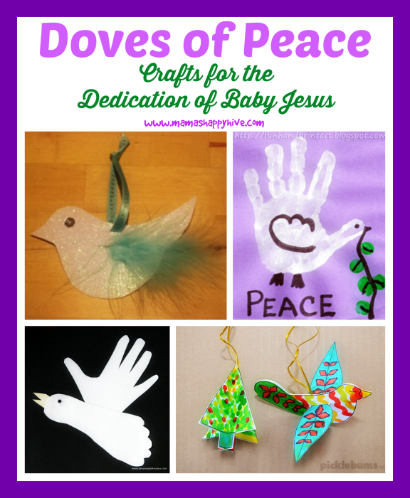This is a beautiful roundup of four doves of peace crafts to help teach the story of the dedication of baby Jesus. - www.mamashappyhive.com