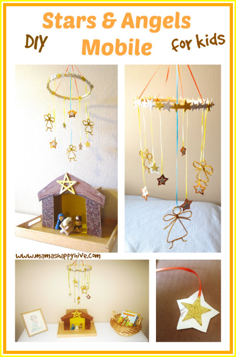 A beautiful DIY Stars and Angels Mobile that a preschooler can craft. It's affordable and easy to assemble. - www.mamashappyhive.com
