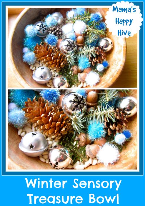 Winter Sensory Treasure Bowl - www.mamashappyhive.com