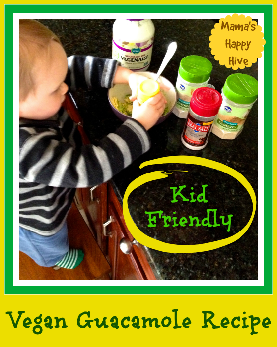 """Enjoy a delicious kid friendly vegan guacamole recipe and the opportunity to link up to our fun party """"In the Kids' Kitchen!""""  - www.mamashappyhive.com"""