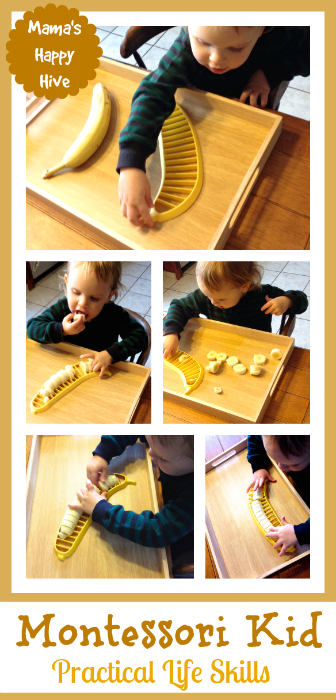These practical life skills kitchen activities are part of the 12 Months of Montessori Learning series brought to you by ten amazing Montessori bloggers! - www.mamashappyhive.com