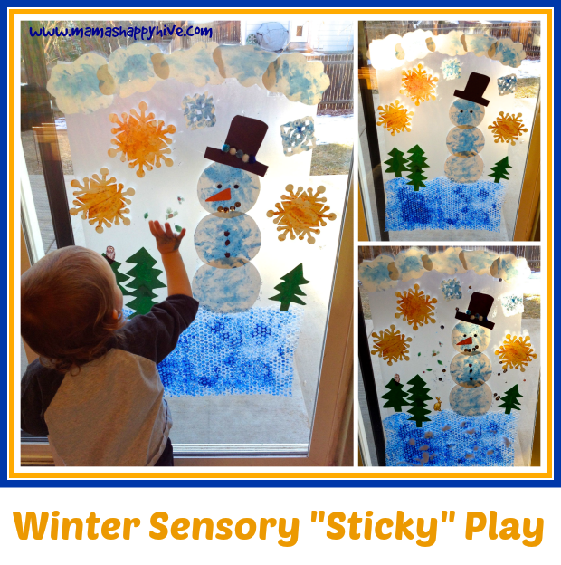 Winter Sensory Sticky Play 2 - www.mamashappyhive.com