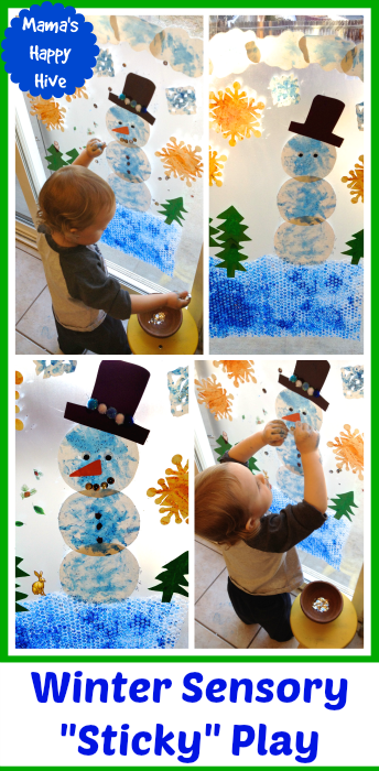 Winter Sensory Sticky Play - www.mamashappyhive.com
