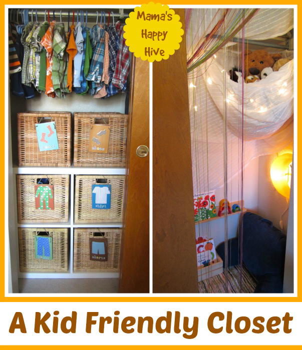 Gain ideas on how to create a kid friendly reading rainbow closet fort. This is a cozy book nook for a young child to enjoy and part of the Fort Building Challenge. - www.mamashappyhive.com