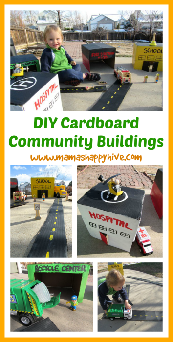 An easy DIY Cardboard Community Buildings and roads tutorial for an outdoor invitation to play activity. - www.mamashappyhive.com