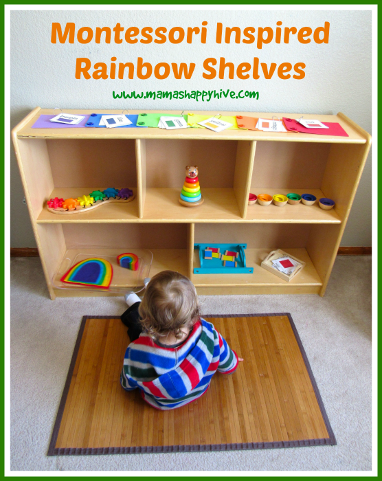 Montessori Inspired Rainbow Shelves - www.mamashappyhive.com