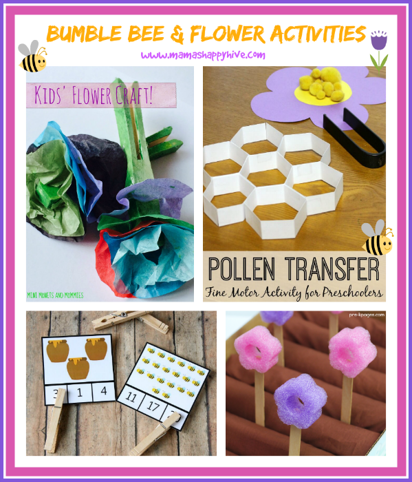 "Please enjoy these adorable bumble bee and flower activities for children of all ages. Plus, ""A Little Bird Told Me"" Wednesday link party! - www.mamashappyhive.com"