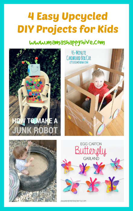 4 Easy Upcycled DIY Projects for Kids & {Link Party #7}