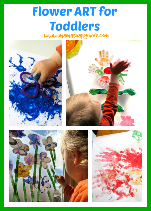 Enjoy 4 gorgeous flower art for toddler activities that include finger painting, stamping, hand-made Mother's Day card, and sun catcher window designs. - www.mamashappyhive.com