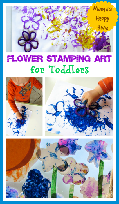 Flower Stamping Art for Toddlers - www.mamashappyhive.com
