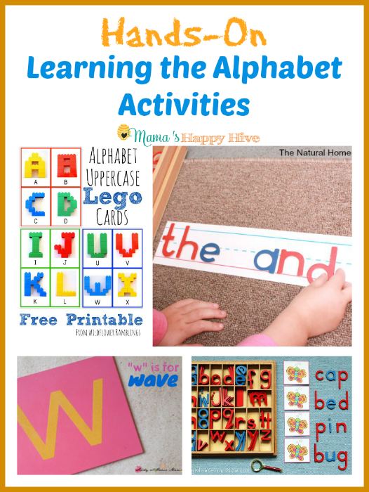 "A wonderful collection of hands-on learning the alphabet activities for kids to enjoy. Plus, ""A Little Bird Told Me"" Wednesday link party!  - www.mamashappyhive.com"