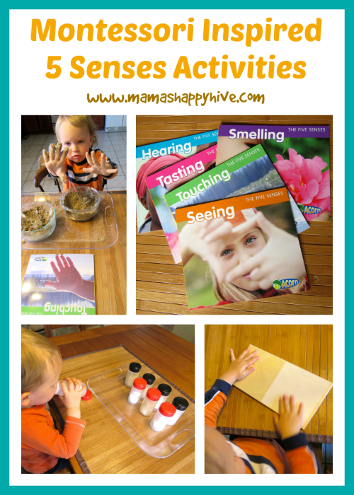 A collection of Montessori inspired five senses activities to use as a wonderful resource. Also, enter to win a $50 gift certificate for Montessori Services! - www.mamashappyhive.com