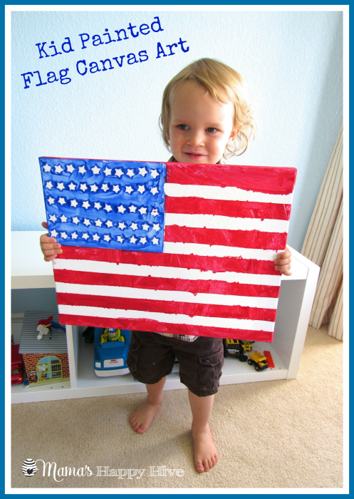 Kid Painted Flag Canvas Art - www.mamashappyhive.com