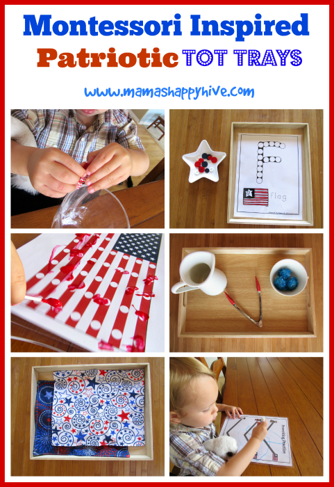 Please enjoy 6 Montessori inspired patriotic tot trays for 4th of July, Flag Day, or other USA patriotic holiday. - www.mamashappyhive.com