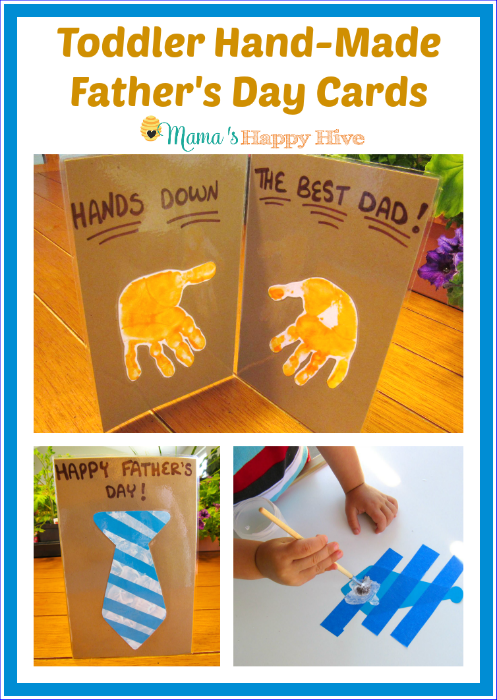 Toddler Hand-Made Father's Day Cards - www.mamashappyhive.com