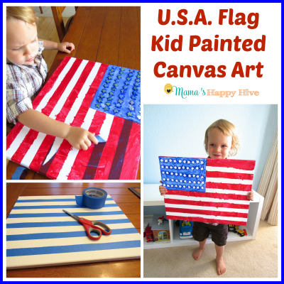 USA Flag Kid Painted Canvas Art