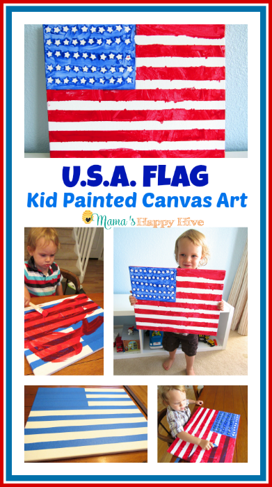 This is an easy DIY tutorial for a USA flag kid painted canvas art display for Flag Day, 4th of July, Memorial Day, or other day in celebration of the flag. - www.mamashappyhive.com