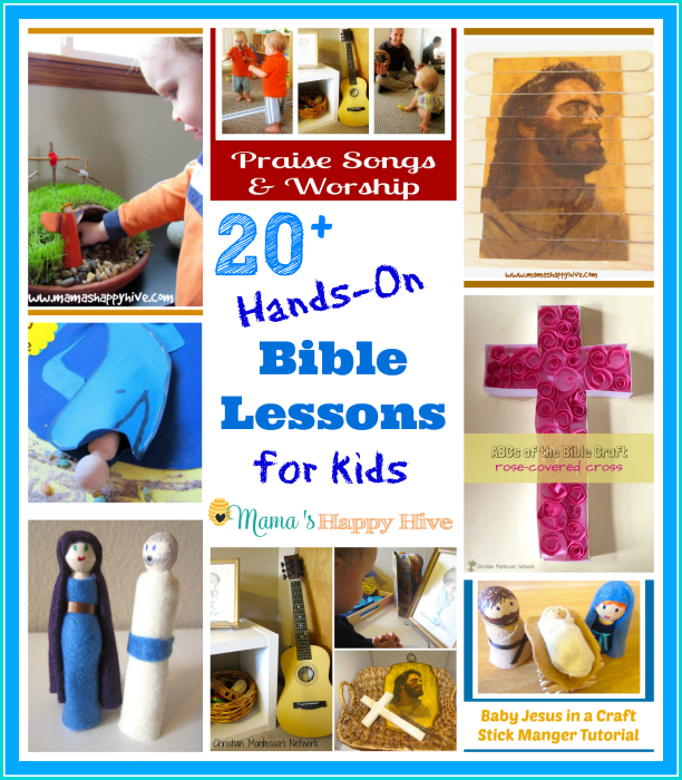 This is an amazing collection of 20+ hands-on Bible lessons for kids of all ages to enjoy! - www.mamashappyhive.com