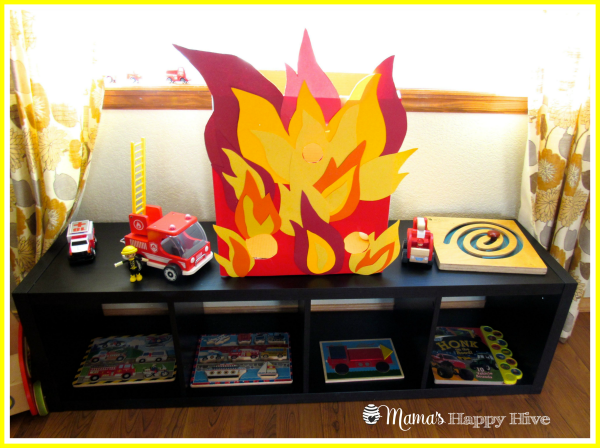 Firetruck Montessori Shelves - www.mamashappyhive.com