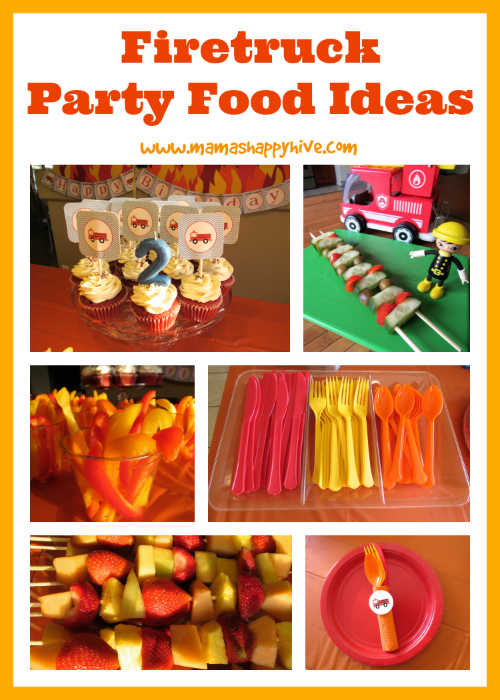 This is a fun collection of firetruck party activities, decorations, and blazing food ideas! - www.mamashappyhive.com