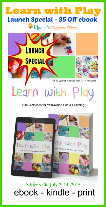 This is an amazing co-authored book that includes 150 learn with play activities for kids. Also, a special launch offer for $5 off from July 7-14, 2015. - www.mamashappyhive.com