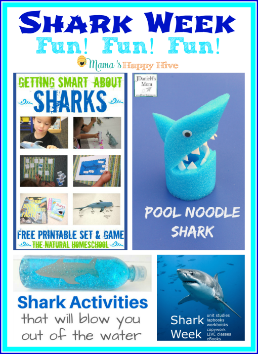 """This is an awesome collection of shark week fun learning activities and crafts to enjoy with your kids! Also, """"A Little Bird Told Me"""" Wednesday link party! - www.mamashappyhive.com"""