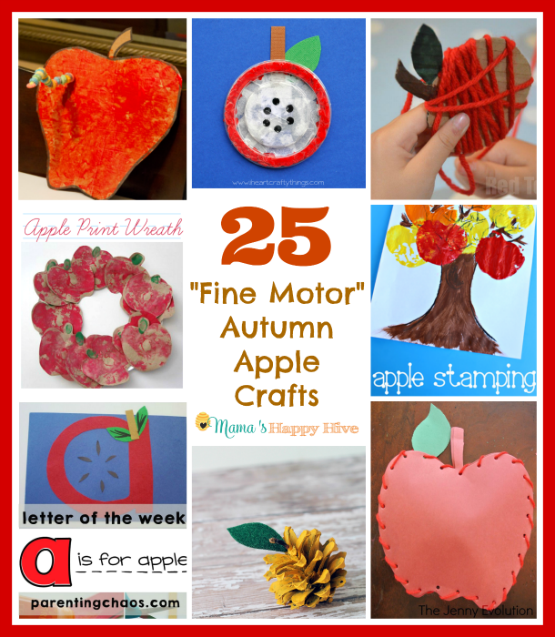 This is a collection of 25 fine motor autumn apple crafts for kids of all ages to enjoy! Plus, an amazing FALL GIVEAWAY $500 paypal cash till Sept. 25, 2015. - www.mamashappyhive.com