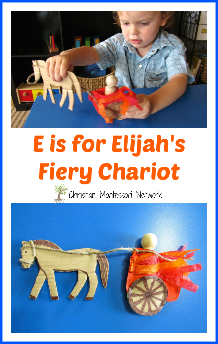 A DIY craft for E is for Elijah's Fiery Chariot with a free printable. This craft is part of the ABCs of the Bible Craft series. - ChristianMontessoriNetwork.com