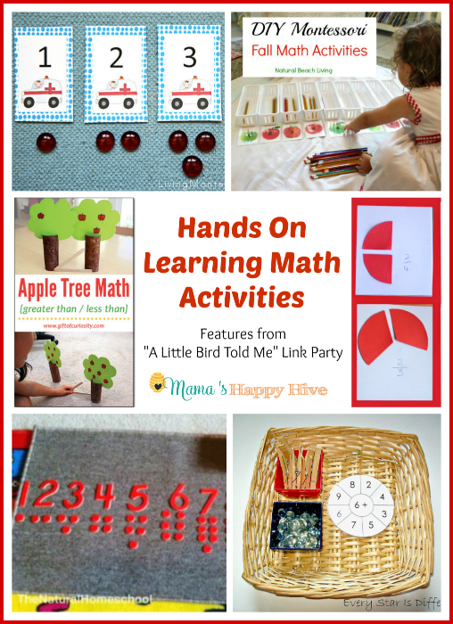 "Hands on learning math activities for kids to enjoy. Plus, ""A Little Bird Told Me"" Wednesday link party! Please, come link up! - www.mamashappyhive.com"