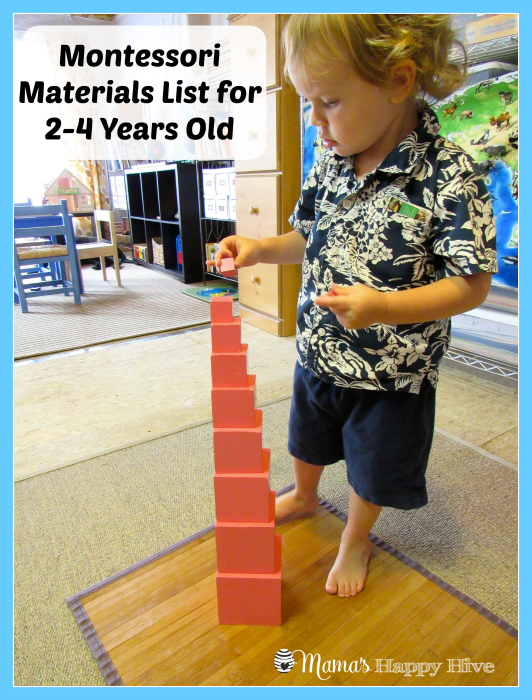 This is a list of Montessori Materials for 2-4 years old. This is a 8 part series for incorporating Montessori education into your home. - www.mamashappyhive.com