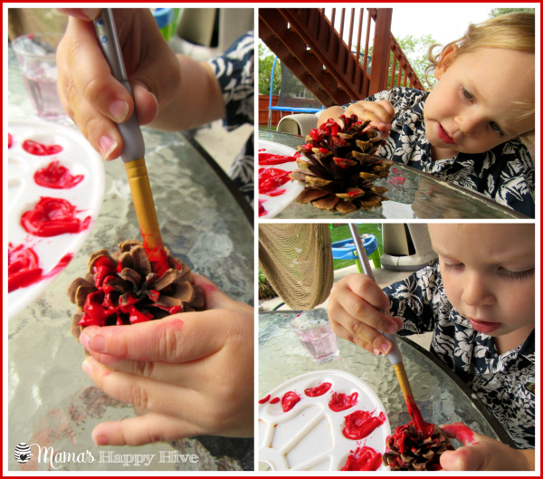 Painting Apple Pinecone - www.mamashappyhive.com