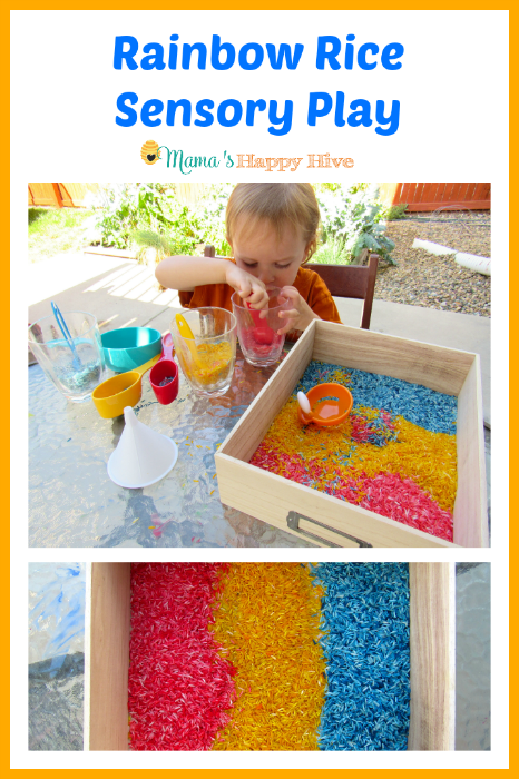 Rainbow Rice Sensory Play - www.mamashappyhive.com