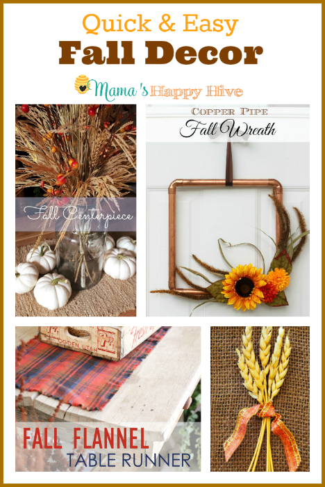"A fun fall collection of DIY quick and easy fall decorations. Also, enjoy ""A Little Bird Told Me"" Wednesday link party! - www.mamashappyhive.com"