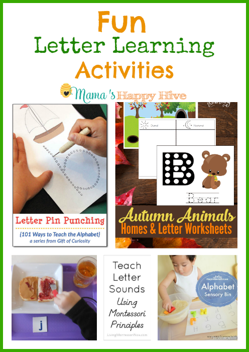 "A collection of fun letter learning activities for preschoolers. Also, included is ""A Little Bird Told Me"" link party! Bloggers - please come link up! - www.mamashappyhive.com"