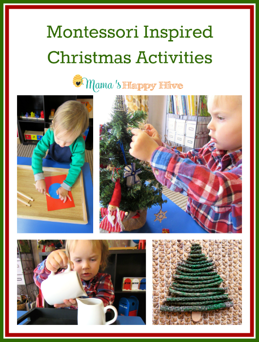 "8 Montessori inspired Christmas activities for toddlers and preschoolers to enjoy. This is also part of the ""15 Days of Montessori for the Holidays"" series! - www.mamashappyhive.com"