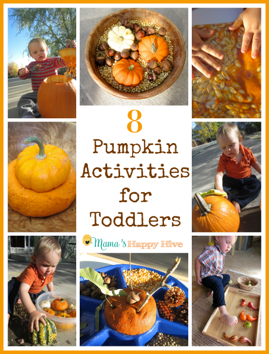 This autumn season, enjoy 8 pumpkin activities for toddlers. This includes pumpkin play dough, sensory play, matching work, pumpkin exploration, and more! - www.mamashappyhive.com