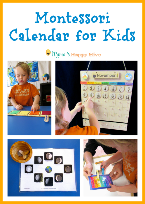 A beautiful hands-on Montessori calendar for kids to learn about the concept of time. Also, included is learning the week, months, seasons, and moon phases. And an amazing Montessori giveaway worth $200! - www.mamashappyhive.com
