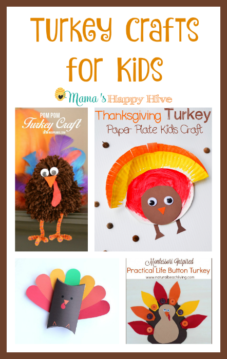 "6 cute turkey crafts for kids to create and enjoy this fun holiday season. Also, this is part of the ""A Little Bird Told Me"" Wednesday link party! - www.mamashappyhive.com"
