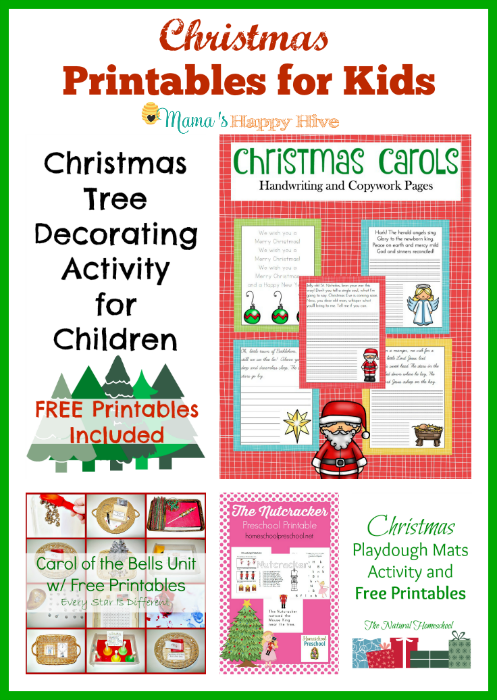 "Easy and fun Christmas printables for kids to enjoy this holiday season. Also, this is part of ""A Little Bird Told Me"" link party. Bloggers, come link up! - www.mamashappyhive.com"